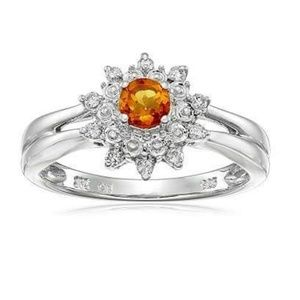Jewelry - Sterling Silver Citrine & Diamond Ring Size 7